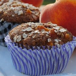 "Spiced Peach Oatmeal Muffins | ""My husband called me from work and told me how much he liked them. Between him and the kids, they ate 9 muffins this morning."""