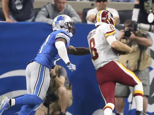 Redskins vs. Lions;   -   October 23, 2016  -  20-17, Lions  -     Washington Redskins QB Kirk Cousins runs for a touchdown during the second half against the Detroit Lions Sunday, Oct. 23, 2016 at Ford Field in Detroit.  Kirthmon F. Dozier, DFP