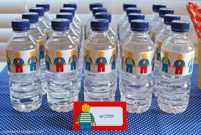awesome lego party - cute water bottles! I could even put these on our re-usable plastic cups. #LegoDuploParty