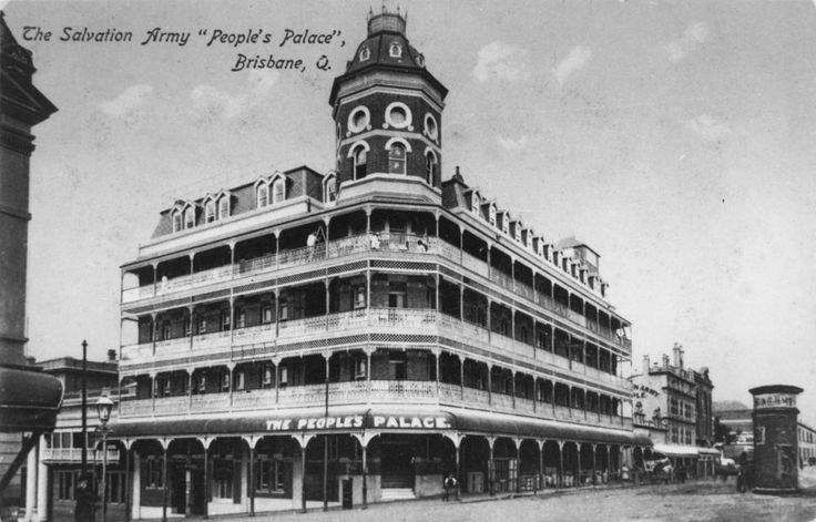 People's Palace after extensions were added, Ann Street, Brisbane, ca. 1913 - The People's Palace was built on the corner of Ann and Edward Streets by the Salvation Army in 1910-1911. It was a temperance hotel built near the Central Railway Station in Brisbane. The rules were strictly no alcohol or gambling. It existed to provide affordable accommodation for working class people. In 1913 two more storeys were added to the original three storey building.