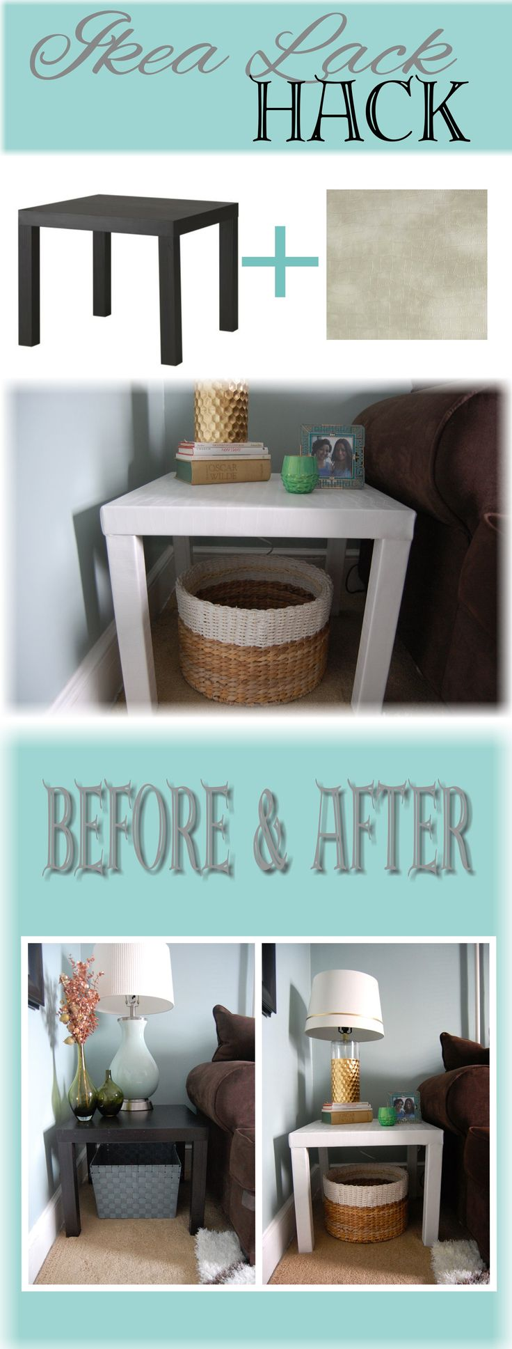 Ikea Lack Side Table Hack http://made2style.com/2014/01/08/ikea-lack-side-table-hack/
