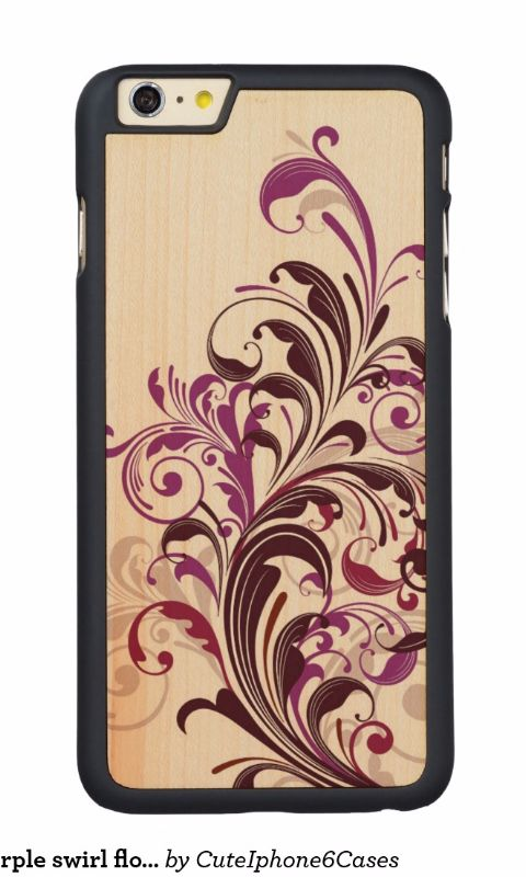 Hot Coolest #purple #swirl #floral Carved® Maple iPhone 6 Plus Case by @CutephoneCases http://www.zazzle.com/cuteiphone6cases*  Find more floral Wood iPhone 6/ 6s plus Cases http://www.zazzle.com/collections/floral_iphone_6_6s_plus_wood_cases-119685023458144526?rf=238478323816001889