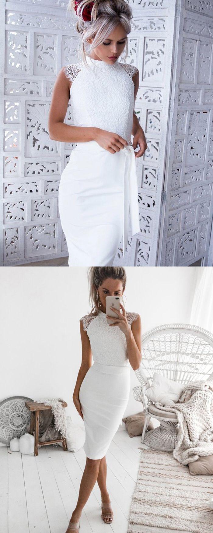 Stehkragen engen kurzen Heimkehr Kleid, weißes figurbetontes
