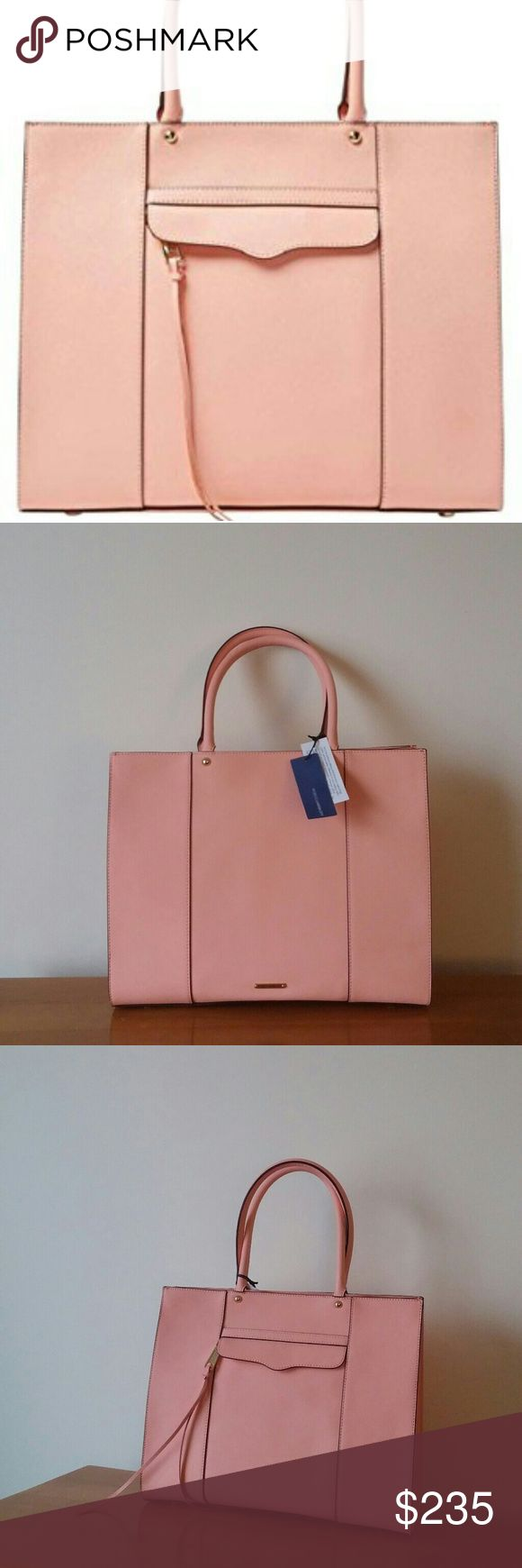 Rebecca Minkoff Large MAB tote in dark peach Gorgeous leather tote by Rebecca Minkoff in RARE dark peach color.  Color is between a pink and coral even though the stock photo makes it look baby pink.  NWT! No dustbag. Still has the paper inside from when I bought it. There is a tiny blemish on the back corner (see photo).  Such a great pop of color for work, school, or date night! Rebecca Minkoff Bags Totes