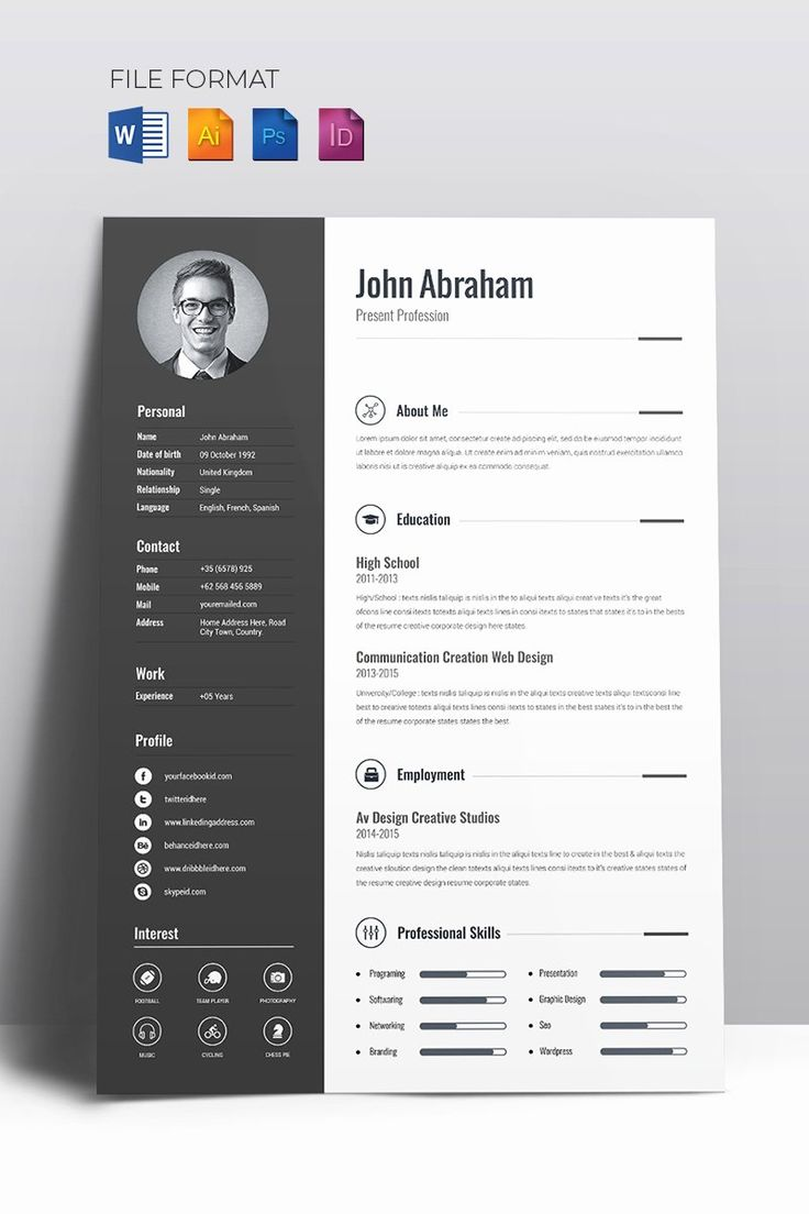 40 Free Creative Resume Templates Word in 2020 Graphic