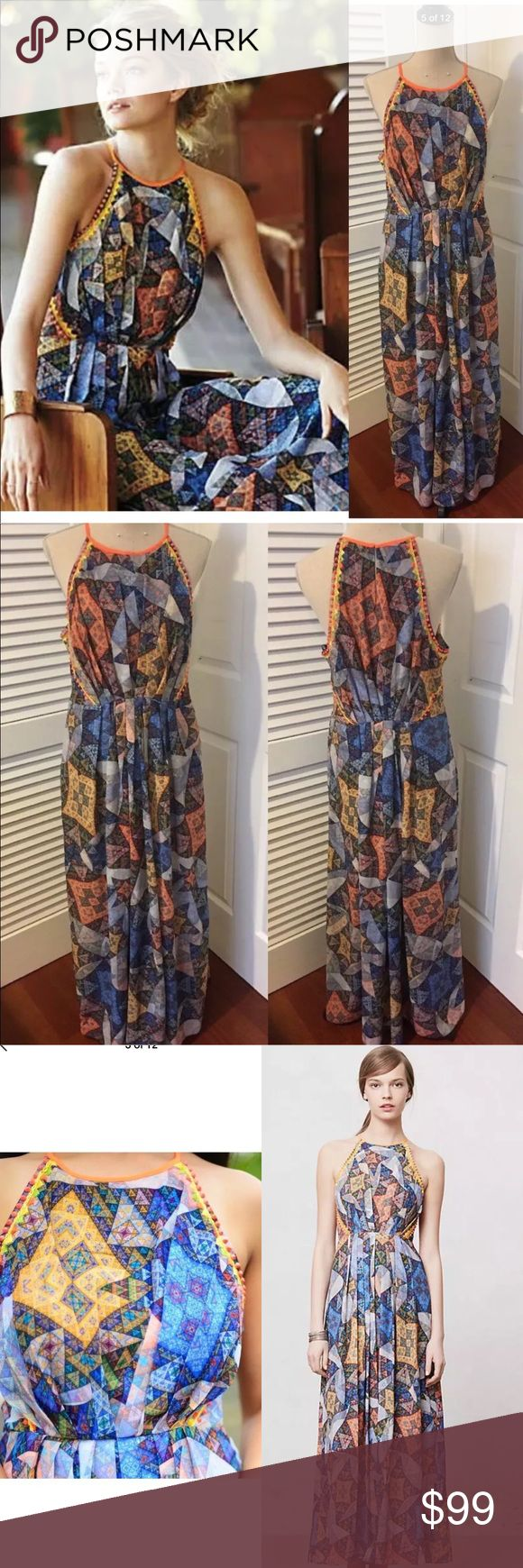 """ANTHROPOLOGIE Ranna Gill Condesa Maxi Dress Excellent condition!!! almost brand new As one of India's most famed designers, Ranna Gill crafts clothing and jewelry that is intricately constructed and full of ingenious color combinations and material mixes. Complete with beautiful beading, this floor-sweeping maxi is pure summer elegance; we love it with beaded sandals and a statement cuff. By Ranna Gill Side zip Polyester; polyester lining Laying Flat:  Length 57"""" from shoulder, armpit to…"""