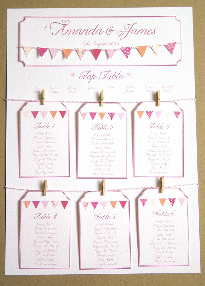 Pink Bunting Wedding Table Plan A2. www.facbook.com/helpinghandswedding