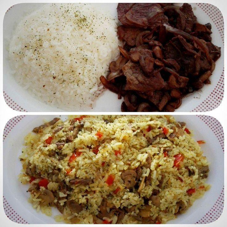 #platosdehoy arroz con ternera al curry y arroz con ternera encebollada al vino #yummy #foodphotography #foodies by supercoco_cam