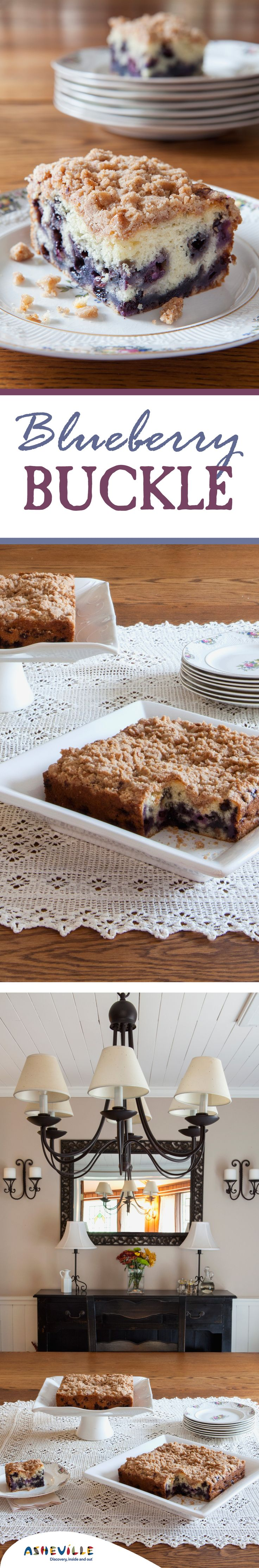 Blueberry Buckle Recipe. This fresh blueberry cake is great for both breakfast and dessert and has a crumbly streusel topping.