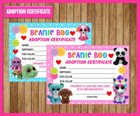 Beanie Boo Adoption Certificate instant download Printable