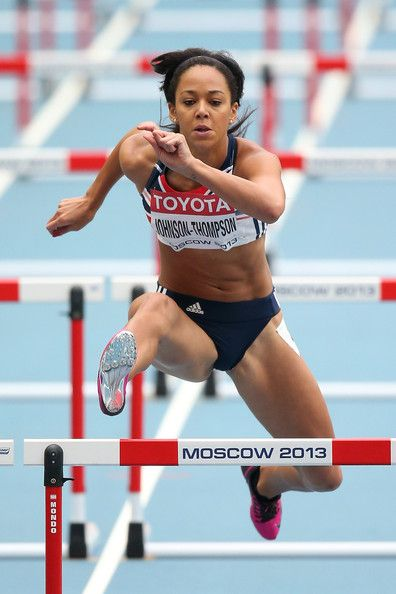 Katarina Johnson-Thompson Katarina Johnson-Thompson of Great Britain competes in the Women's Heptathlon 100 metres hurdles during Day Three of the 14th IAAF World Athletics Championships Moscow 2013 at Luzhniki Stadium on August 12, 2013 in Moscow, Russia.