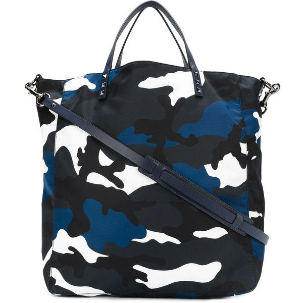 Valentino Garavani camouflage print tote ($1,405) ❤ liked on Polyvore featuring men's fashion, men's bags, blue, men's tote bag and mens camo diaper bag