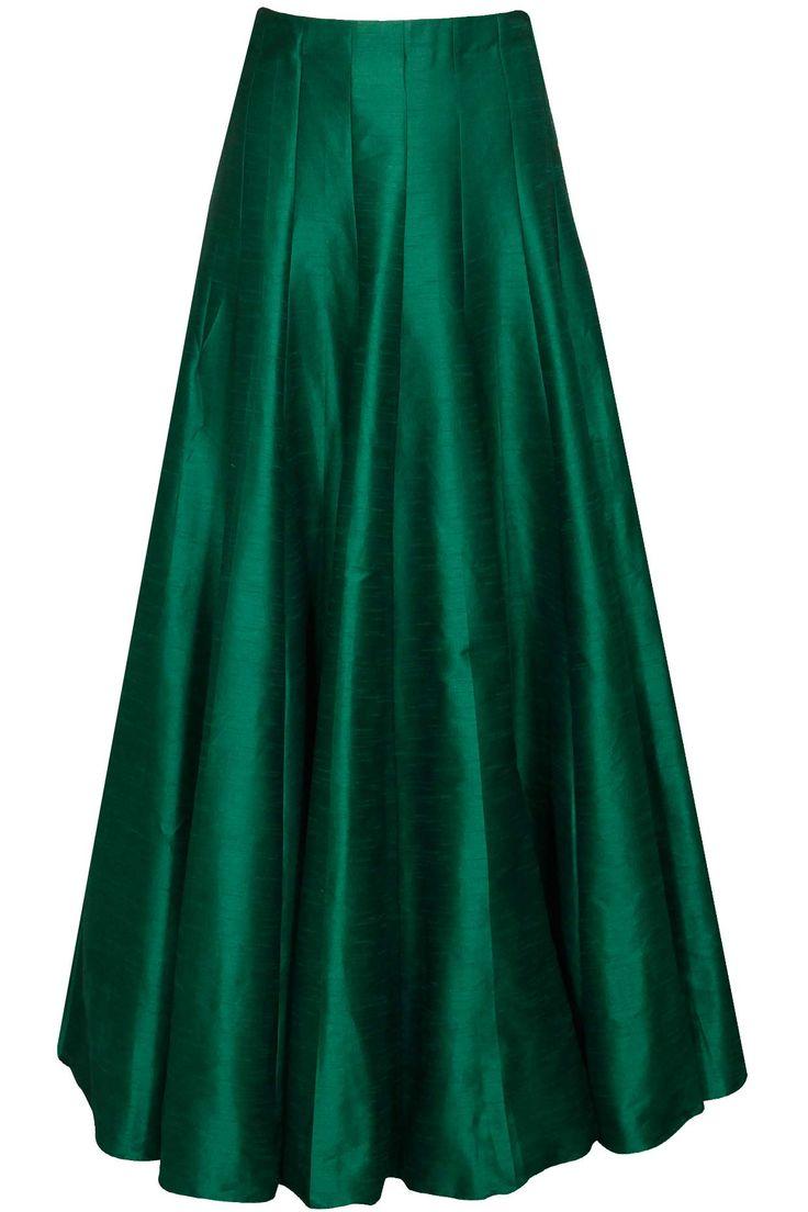 Emerald green pleated lehenga by SVA. Shop now: http://www.perniaspopupshop.com/designers/sva #sva #lehenga #perniaspopupshop #shopnow