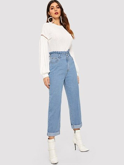 52410dabaa3 Paperbag Waist Bleach Wash Jeans in 2019