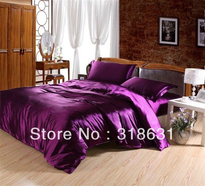 4 ou 5 pcs seda imitado cetim cor sólida purple roupa de cama lençol conjunto lençol capa de edredão para rei ra...