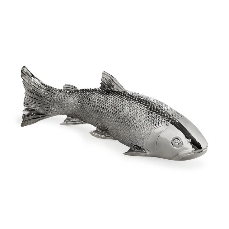 Objet d co poisson argent 28cm argent fish d coration for Deco argente salon