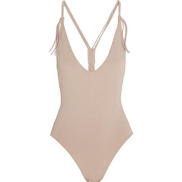 Eres Spotlight Groupie macramé-strap swimsuit (148.460 CRC) ❤ liked on Polyvore featuring swimwear, swimsuits, tops, bikinis, swim, neutrals, strappy bathing suit, swimsuit swimwear, bikini swimsuit and strappy swimsuit
