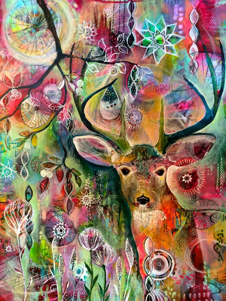 """""""Deer at Twilight"""", acrylic on canvas, 24"""" x 30"""", original painting by Jennifer Currie"""