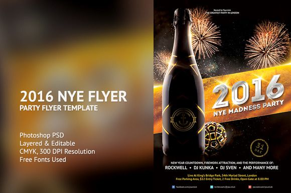 2016 New Years Eve flyer template great to promote your upcoming new year celebration party/event.Very easy to use, organized layer and 100% customizable.You can edit main text and add logo badge on bottle easily via Smart Object.A4 & 4x6 flyer version included with bleed in each side. #creativemarket #photoshop #poster #flyer #template #nye #newyearseve #newyear