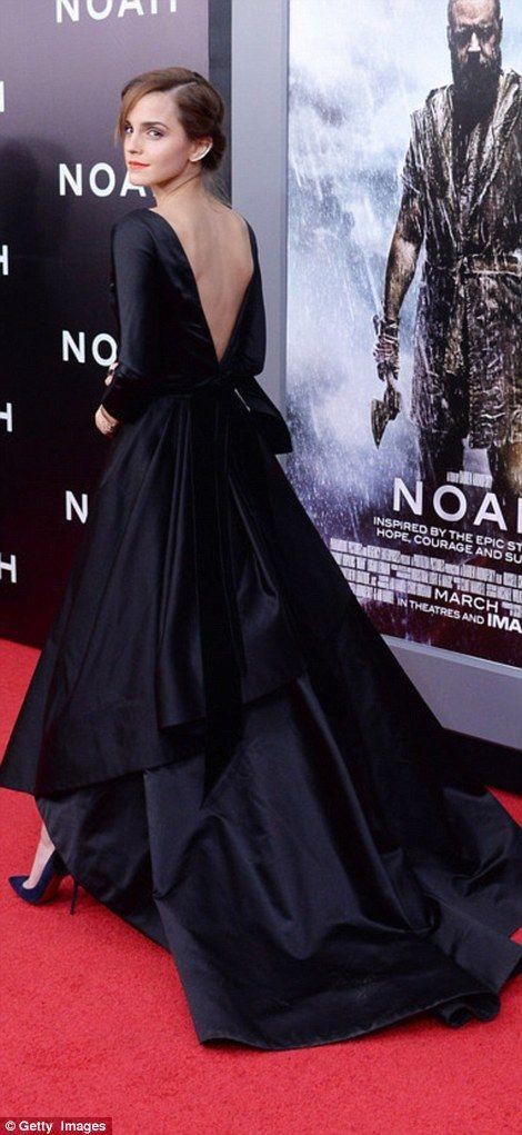 Red carpet ready: Emma Watson, right, at the New York premiere of Noah in March 2014 wearing Oscar de la Renta.