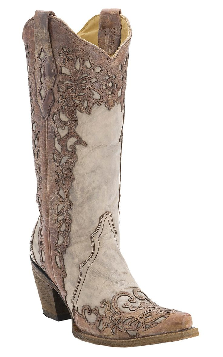 Corral® Ladies Distressed Sand with Cognac Lazer Overlay Snip Toe Cowboy Boots