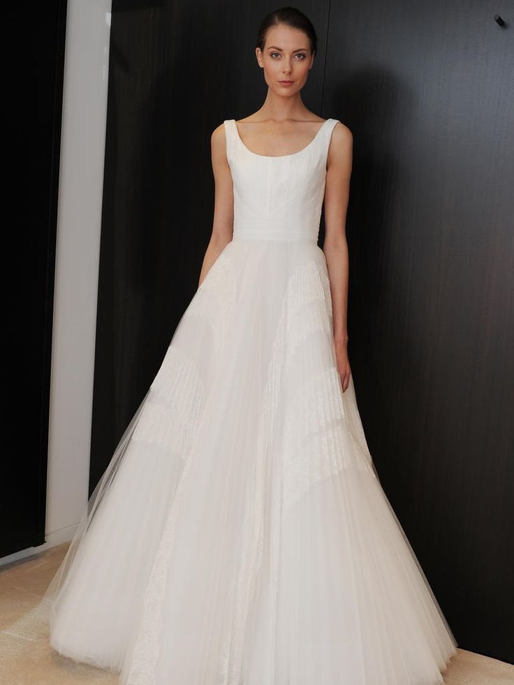 J. Mendel pleated wedding dress with straps and a scoop neck from Spring 2015