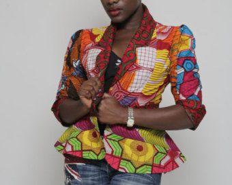 African print green Dashiki blazer. by HouseofAfrika on Etsy