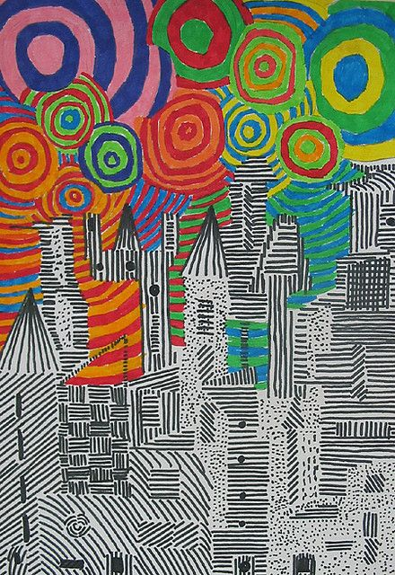 Cityscape-great lesson on line forming shape taking up space, contrast, color, positive/negative space, etc. like it!