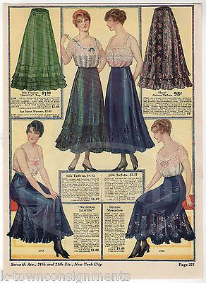 LADIES SILK DRESSES WOMENS FASHIONS ANTIQUE GRAPHIC ADVERTISING CATALOG PRINT