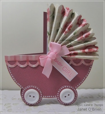 paper card & stamps: Baby girl pram card