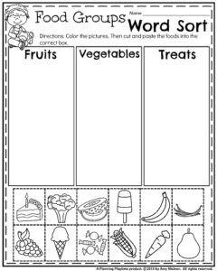 Summer Kindergarten Worksheets - Word Sort into categories Food Groups