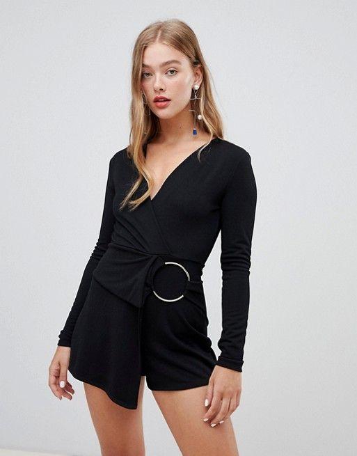 9de3583e5e New Look circle belt romper in black Playsuit