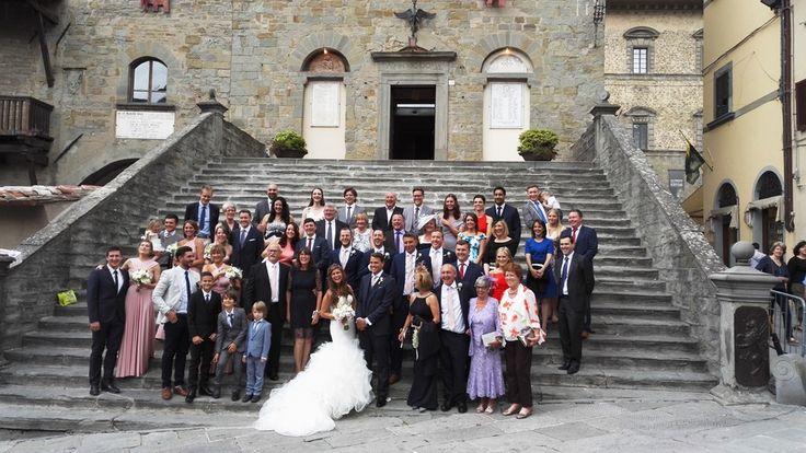 Post-ceremony group photo outside Cortona Town Hall, Tuscany - S&C June 2016
