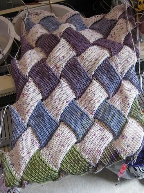 """Still working on the """"EZ"""" Entrelac. I think I've found out all my problems happen when I'm doing the 2 triangles and 3 rectangles row. It ..."""