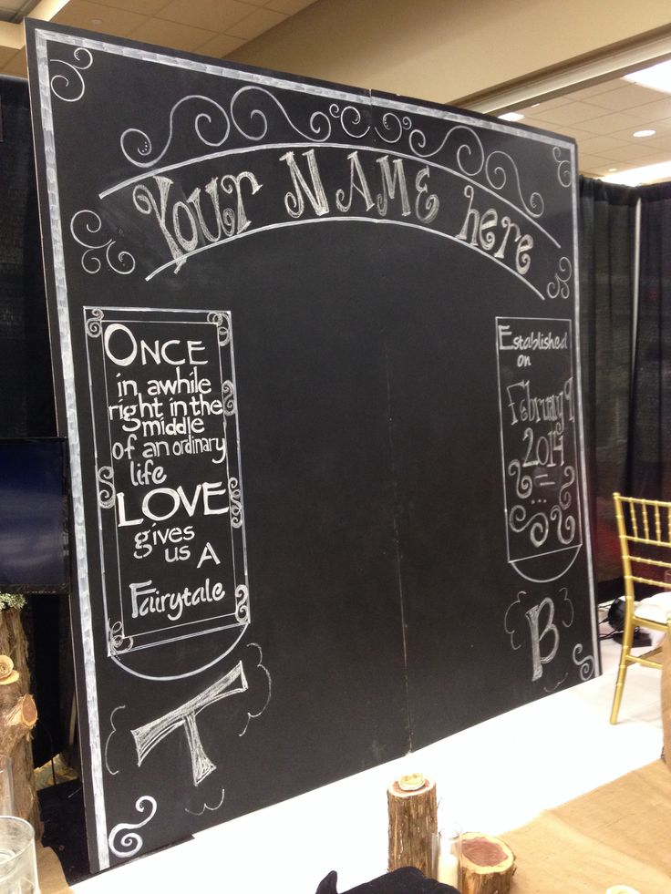 Large Chalkboard Backdrop Wedding Rustic Country