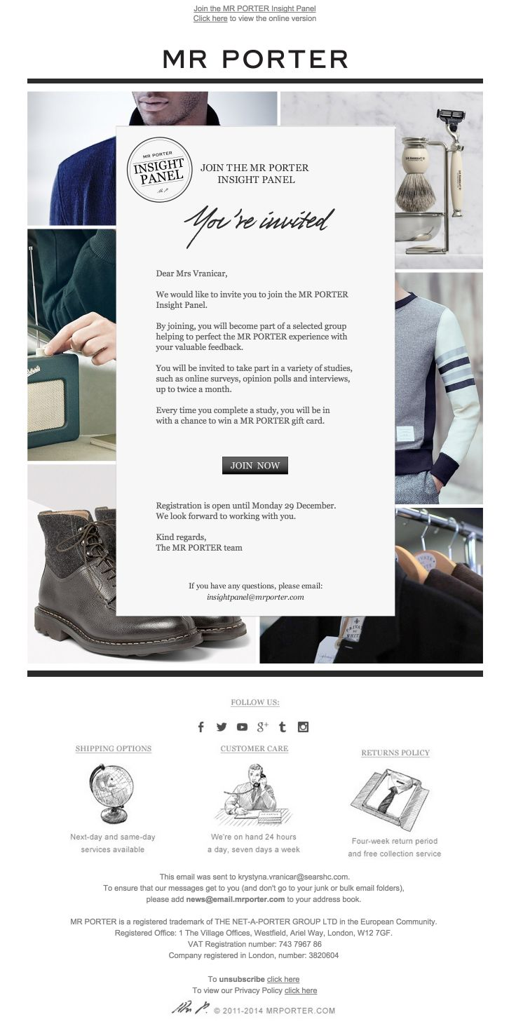 MR PORTER Panel Insights Invite email 49