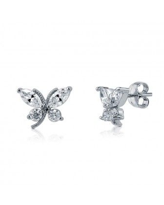 """Серьги-гвоздики """"Бабочки"""" с цирконами CZ из стерлингового серебра"""