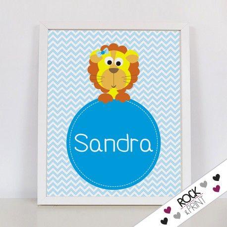 Lámina infantil personalizada de león. Decoración de la habitación de tus hijos y regalo original bebé.