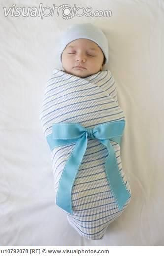 baby boy blankets | Baby wrapped in blanket with bow