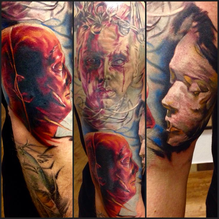 Process on sleeve, tattoo , Creepy face, for more updates follow me in Instagram @saver09