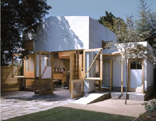 converted garage has been transformed into a studio/living space(sleeping loft), keeping the external structure the same. laneway housing""
