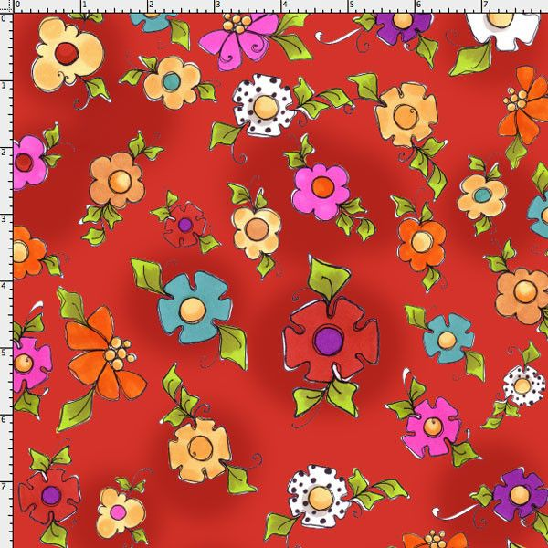 Pin By Storytelling On Happy Fabric: Happy Blooms Red Fabric Yard