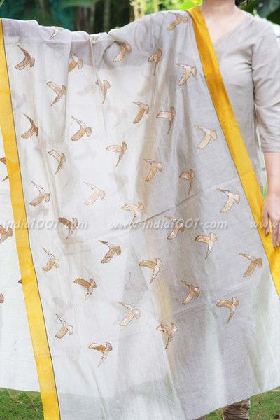 Elegant Embroidered Chanderi Dupatta