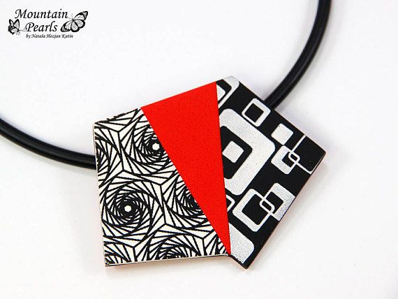 Modern Avantgarde Red Pendant Bold Abstract Necklace