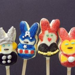 Make some Avengers Peeps - made with bunny peeps, candy wafers and diluted food gels.