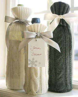 Get those old sweaters out folks! #upcycle them! #DIY Wine Bottle Cover From Old Sweater Sleeves! Doesn't get much easier! .