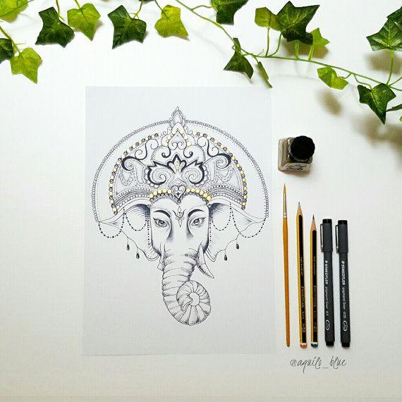 Ganesha / Ganesh dotwork transformé dessin par AquiloBlueDesigns