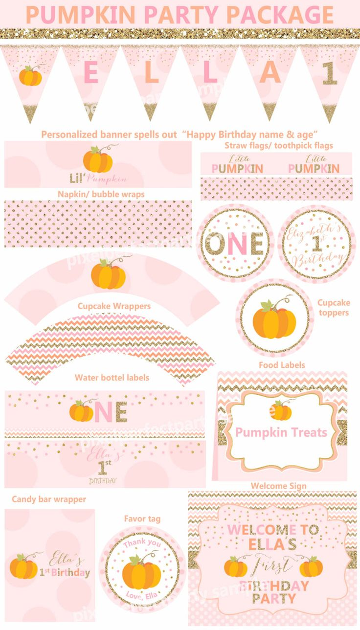 Pumpkin Party Package Pumpkin Party Printables Pumpkin Invitation Our Little Pumpkin Birthday Pink Gold Sparkle Pumpkin Decorations by PixelPerfectionParty on Etsy https://www.etsy.com/listing/243989910/pumpkin-party-package-pumpkin-party