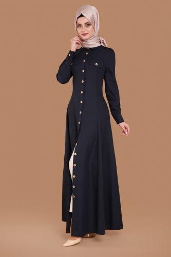 G.M.Z. Tesettür - Önden Düğmeli Elbise Tunik MSW8807 Laci