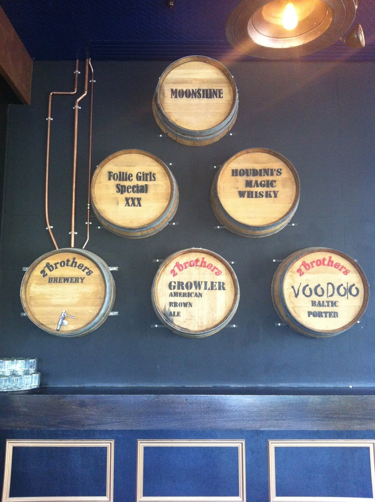 Vintage wall barrels on display at Fathers Office
